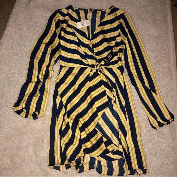 Express Dresses & Skirts - BOGO NWT Striped V-Neck Elastic Waist Mini Dress